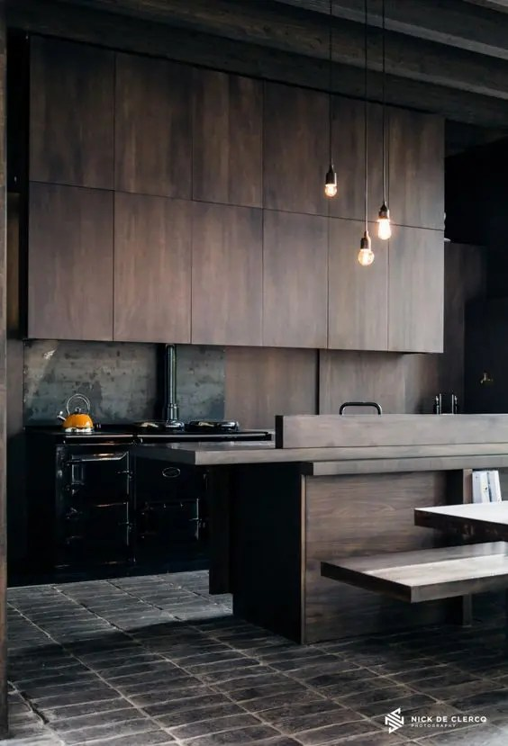 Mid Century Kitchen Island 27 Moody Dark Kitchen Décor Ideas - Digsdigs