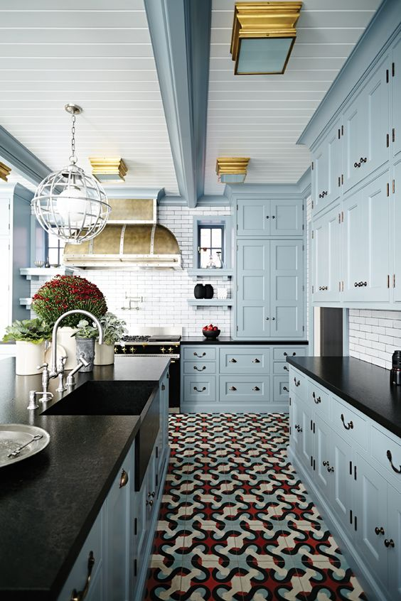 Custom Antique White Kitchen Cabinets 30 Tile Flooring Ideas With Pros And Cons - Digsdigs