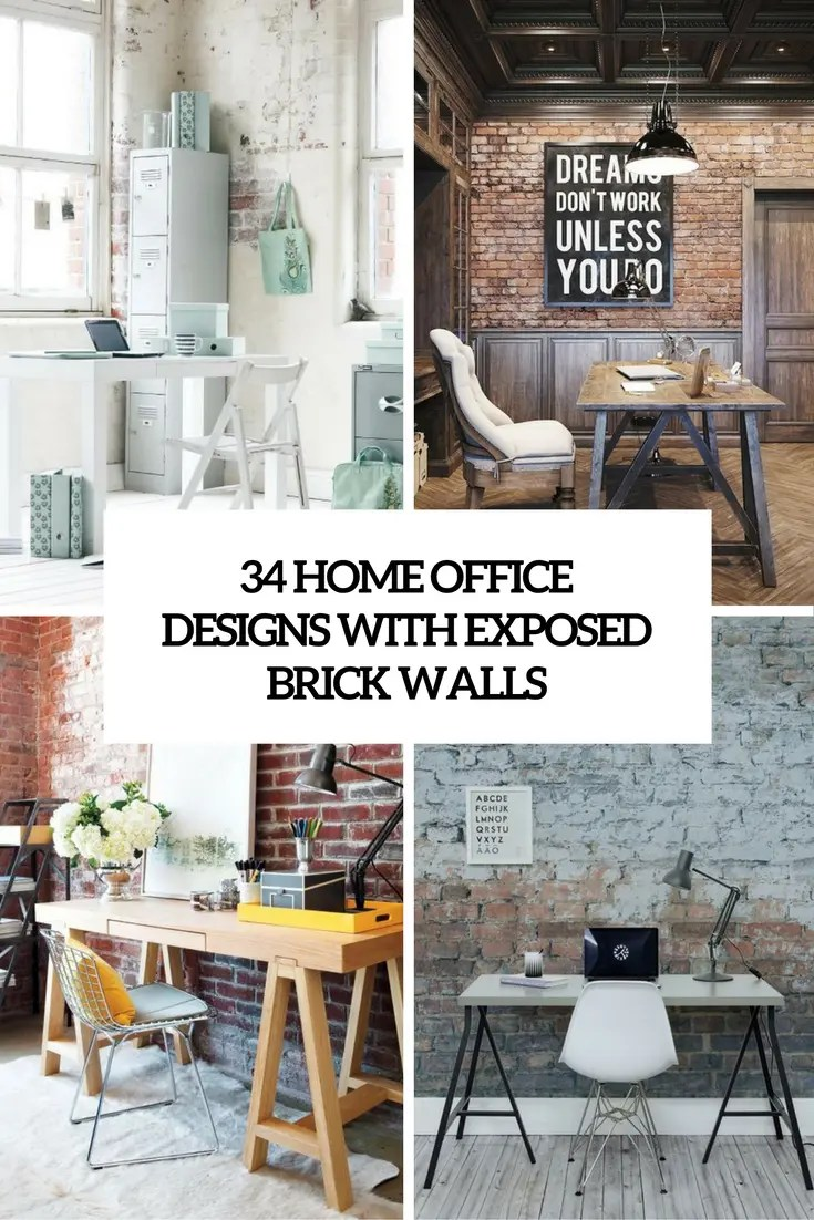 Brick Wall Design 34 Home Office Designs With Exposed Brick Walls Digsdigs