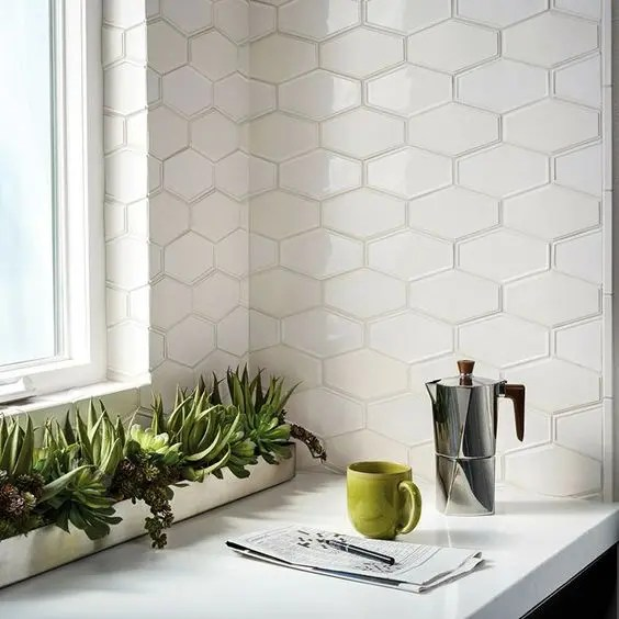 How To Fit Kitchen Wall Cabinets 45 Eye-catchy Hexagon Tile Ideas For Kitchens - Digsdigs