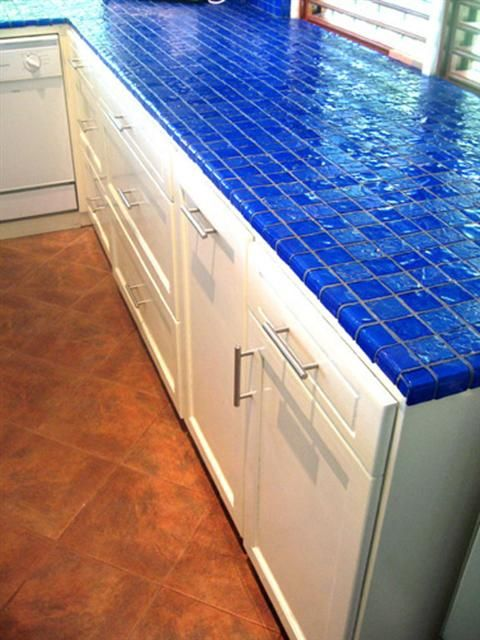 Teal Blue Kitchen Cabinets Hot Décor Trend: 24 Tile Kitchen Countertops - Digsdigs