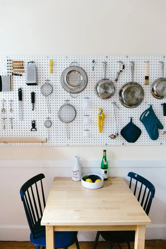 Kitchen Shelves With Hooks 32 Smart And Practical Pegboard Ideas For Your Home - Digsdigs