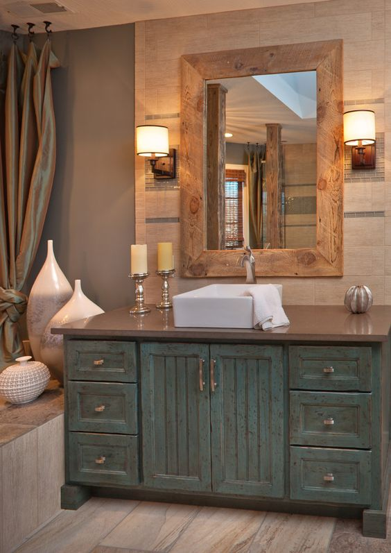 Vintage Reclaimed Sideboard 34 Rustic Bathroom Vanities And Cabinets For A Cozy Touch