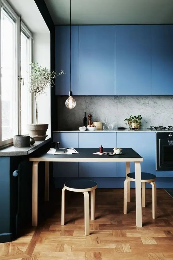 Subway Tile With Dark Grout 30 Gorgeous Blue Kitchen Decor Ideas - Digsdigs