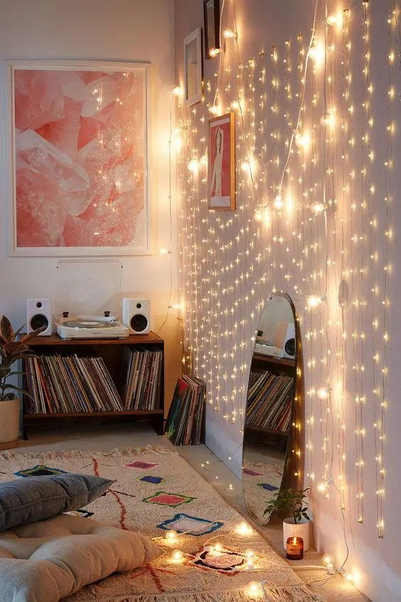 Kamar Tidur Tumblr 25 Cozy String Lights Ideas For Living Rooms - Digsdigs