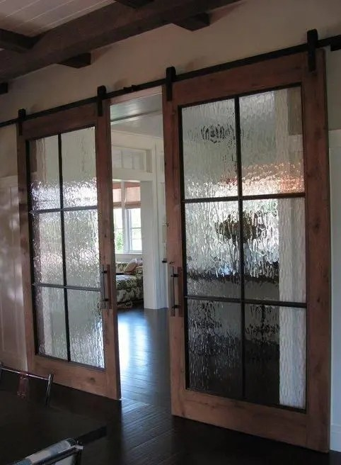 Frosted Glass Kitchen Cabinets 25 Sliding Barn Doors Ideas For A Rustic Feel - Digsdigs