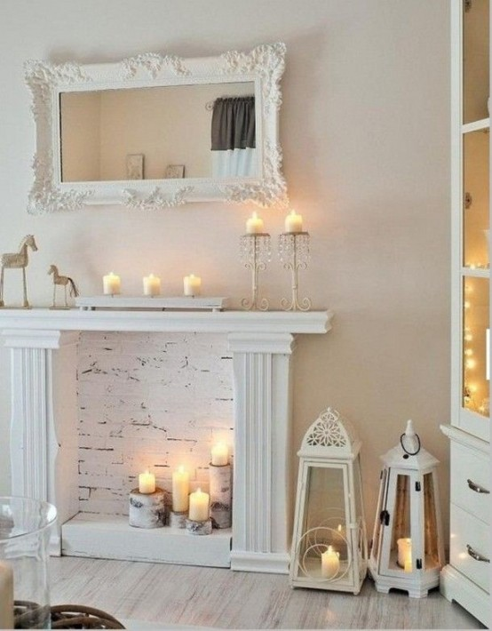 Mesa Vintage Ikea 30 Adorable Fireplace Candle Displays For Any Interior