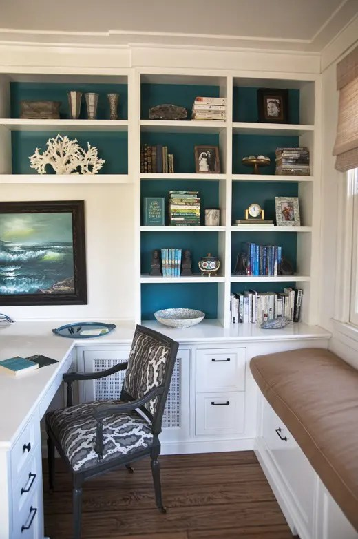 Mid Century Modern Bookcase 23 Beach-inspired Home Office Designs - Digsdigs