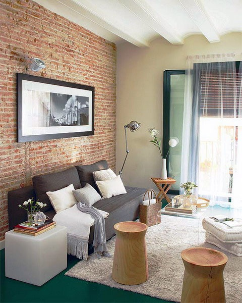 Rattan Sofa Boho 77 Cool Living Rooms With Brick Walls - Digsdigs