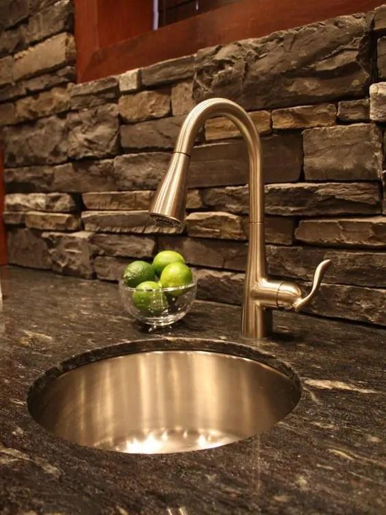 cool stone rock kitchen backsplashes wow digsdigs rock kitchen backsplash river rock pebbles create unique backsplash