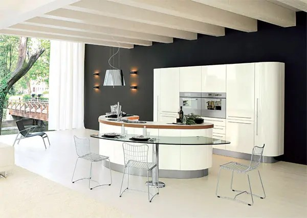 Curved Kitchen Island With Seating Curved Kitchen Island From Record Cucine - Digsdigs