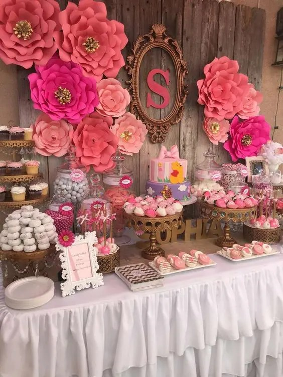 Flores De Tela Pequeñas 31 Cute Baby Shower Dessert Table Décor Ideas - Digsdigs