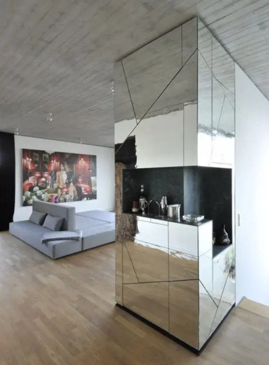 Living Room Wall Ideas Futuristic Penthouse With Mirror Walls - Digsdigs