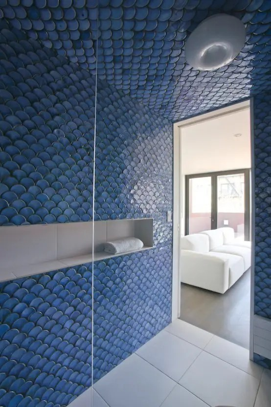 Carrelage Salle De Bain Bleu Turquoise 32 Gorgeous And Eye-catching Fish Scale Tiles Décor Ideas