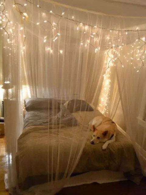 Bett 200x200 Selber Bauen How To Use String Lights For Your Bedroom: 32 Ideas - Digsdigs