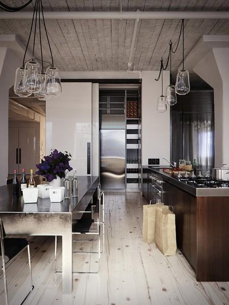 metal surfaces industrial pendant lights long black cords kitchen islands kitchen ideas design cabinets islands