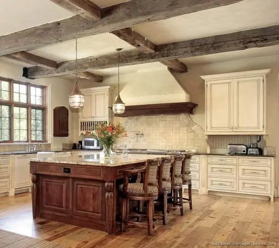 Custom Antique White Kitchen Cabinets 36 Inviting Kitchen Designs With Exposed Wooden Beams
