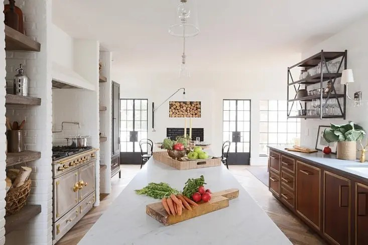 large eat kitchen classic french range industrial accents rustic kitchen design ideas remodel pictures houzz