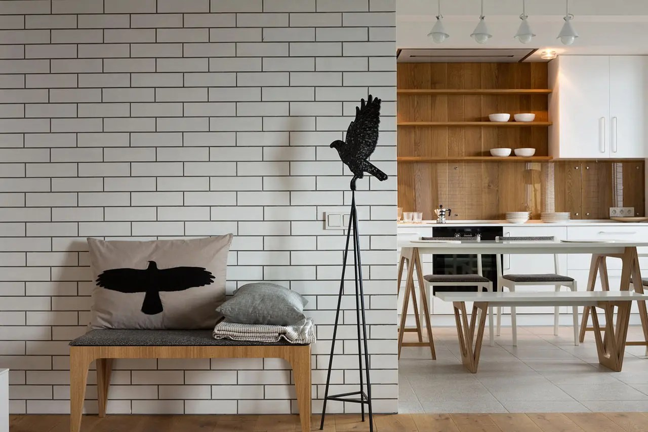 Brick Wall Interior Modern Kiev Apartment With White Brick Walls Digsdigs