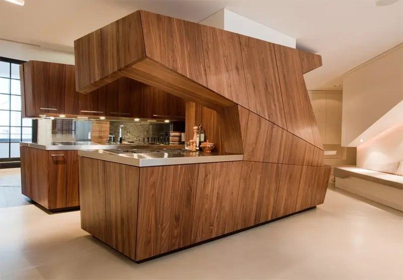 loft freestanding centralized wood veneer kitchen digsdigs stephanie wohlner tags kitchen design kitchen cabinet comment