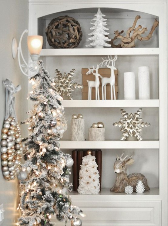 Modern White Wall Shelf 44 Refined Gold And White Christmas Décor Ideas - Digsdigs
