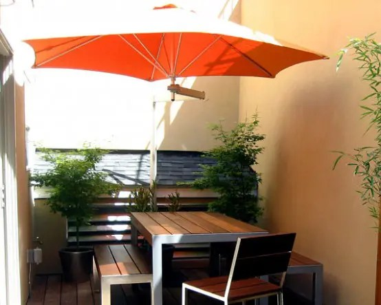 Small Patio Furniture Paraflex Wall Mounted Patio Umbrella - Digsdigs