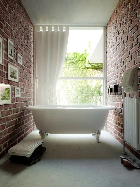 Contemporary Bathroom Ideas 39 Stylish Bathrooms With Brick Walls And Ceilings - Digsdigs