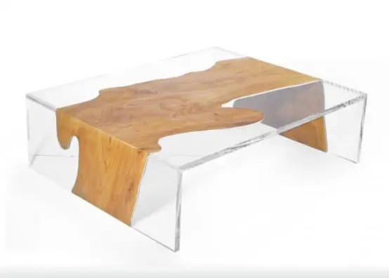 Used Look Couchtisch Unusual Minimalist Table Combination Of Wood And Acryl