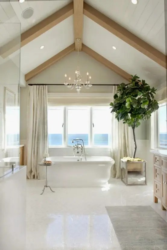Home Decor Bath 32 Ways To Incorporate Exposed Wooden Beams Into Bathroom