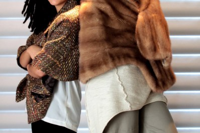 women wearing stoles. Mink fur stole and tweed stole