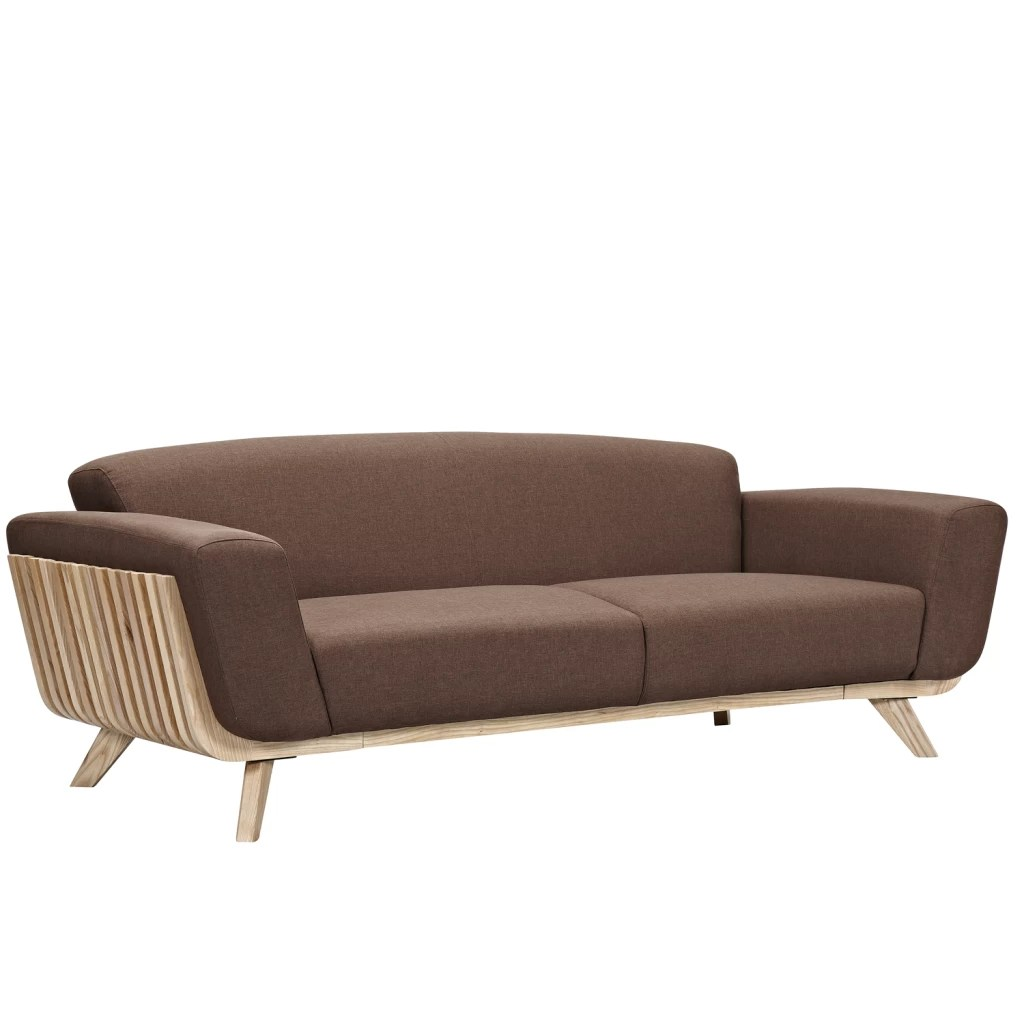 Canape Sofa 3 Seater Fabric And Wood Prague Sofa Diiiz