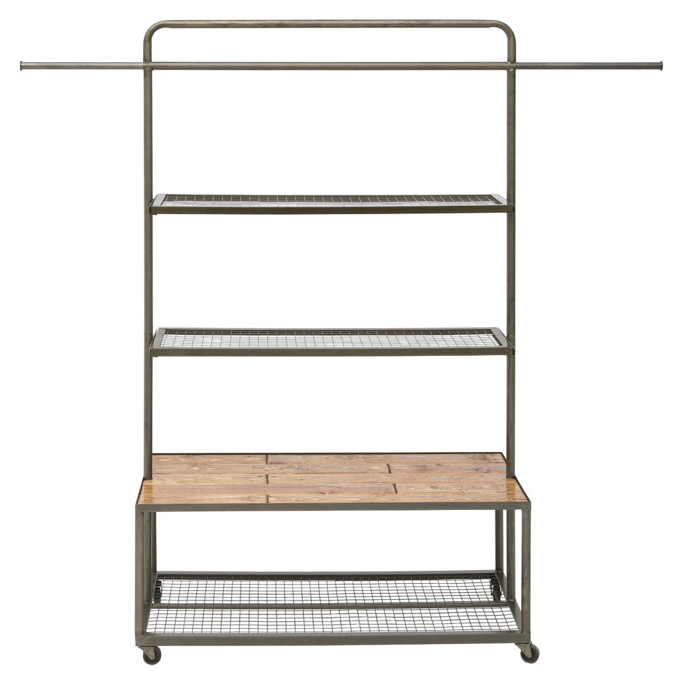 Mesh Shelving Grey Industrial Display Unit With Wire Mesh Shelves And Wood Platform 42