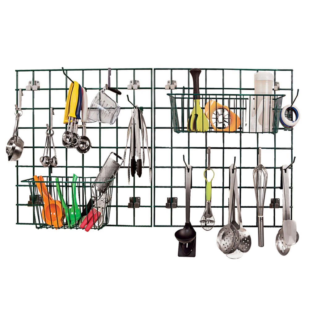 Wall Grid Focus Ez Wall Green Metal Kitchen Storage Grid Drying Rack