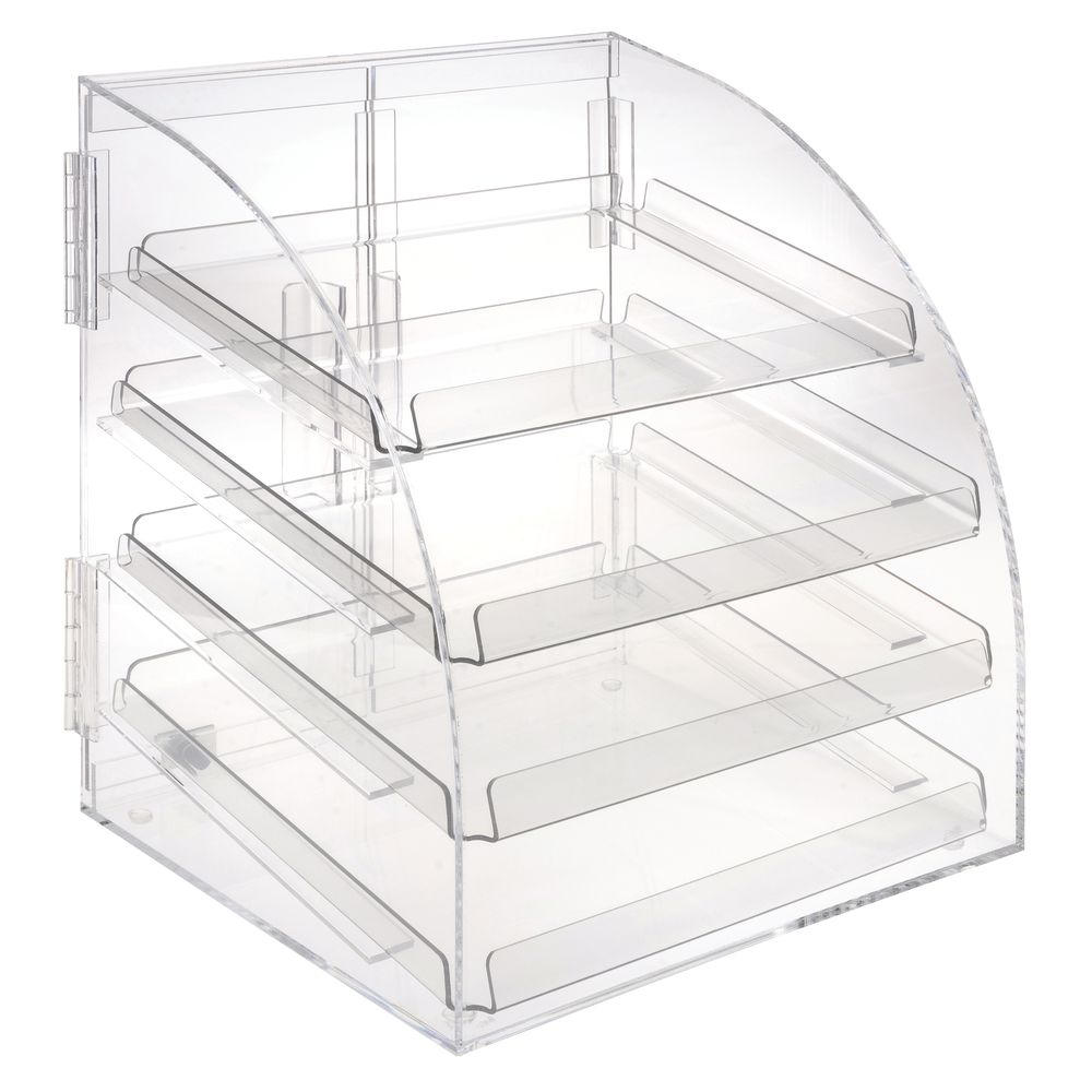 Countertop Food Display Case Rectangular Euro Style Clear Acrylic Countertop 4 Tier Food Display Case With 4 Trays 13 1 2