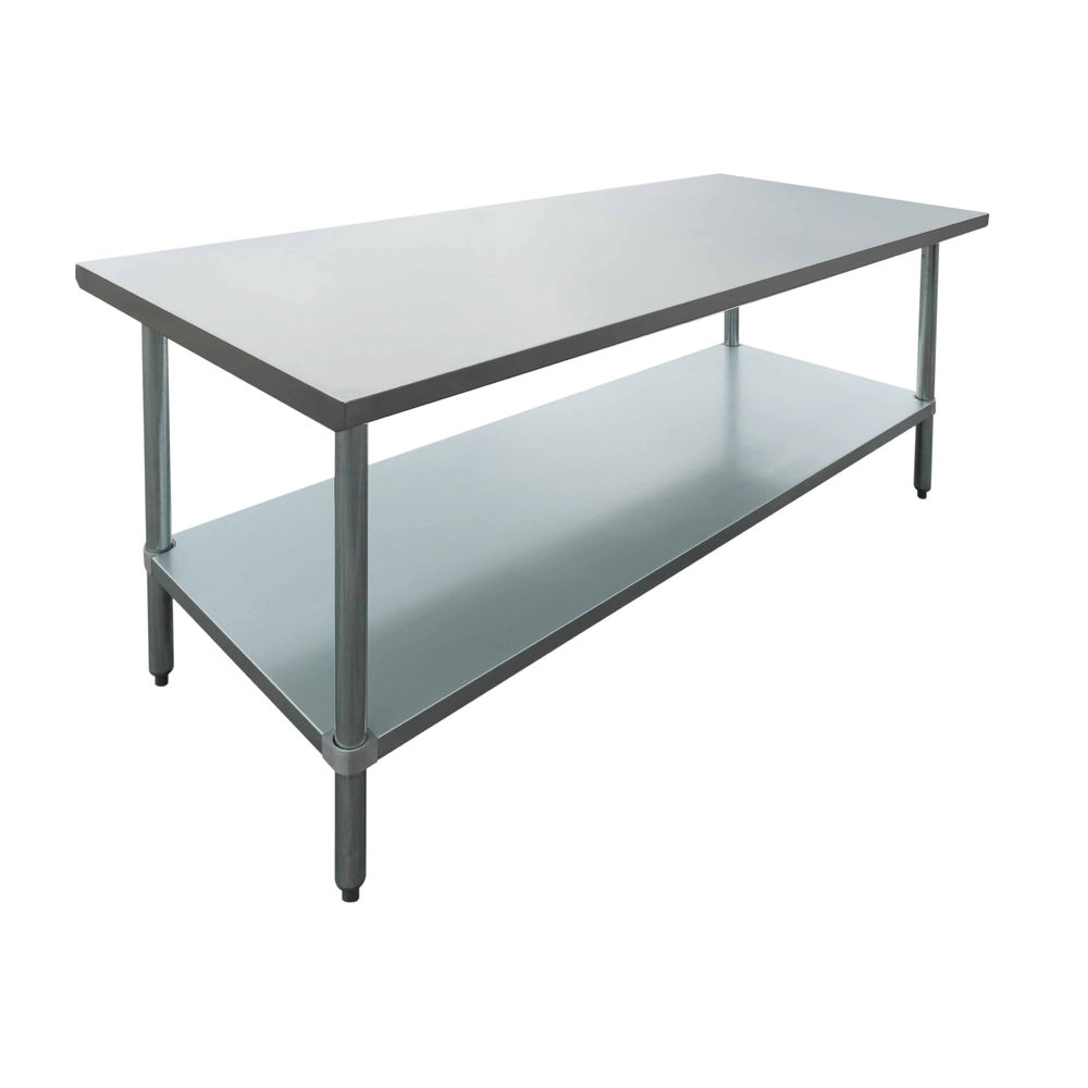 Stainless Restaurant Table Hubert Stainless Steel Work Table Flat Top With Half Square Edge 72