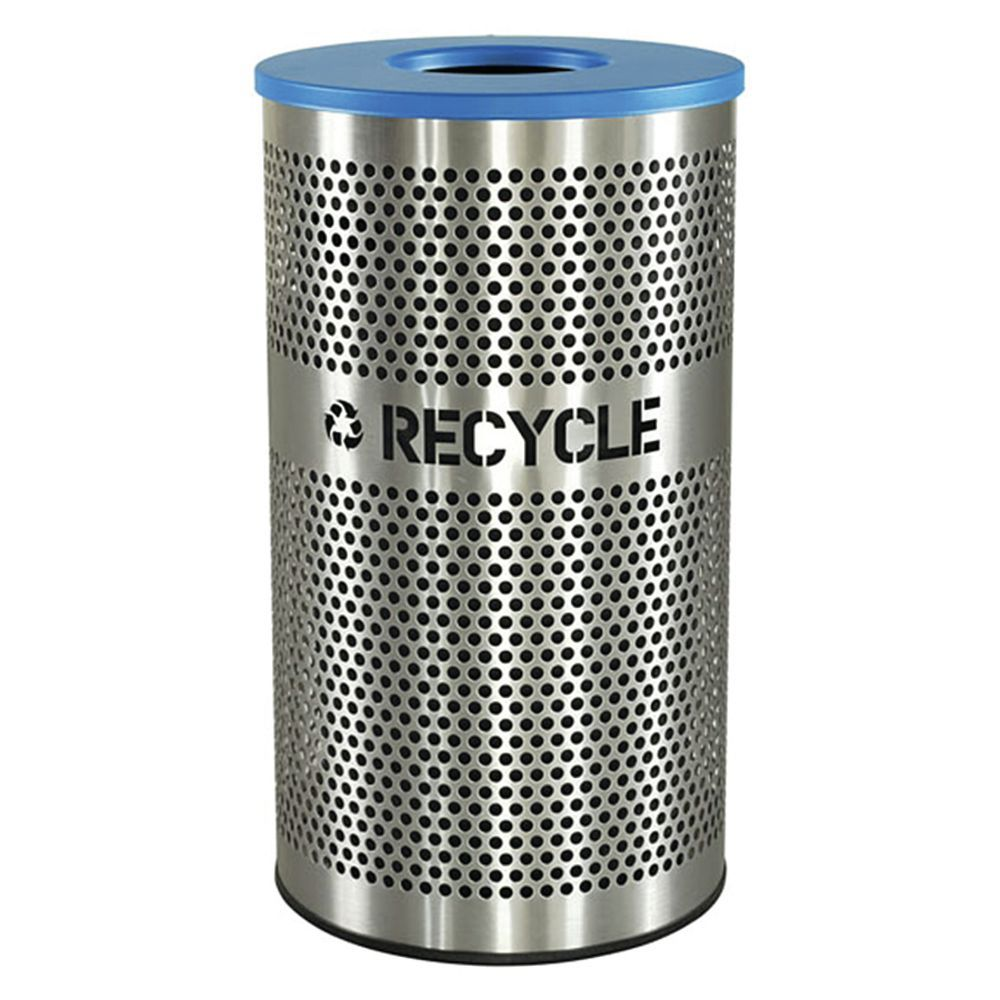 Stainless Steel Recycling Bins Excell Kaiser 33 Gal Stainless Steel With Blue Top Venue Collection Recycling Container 18