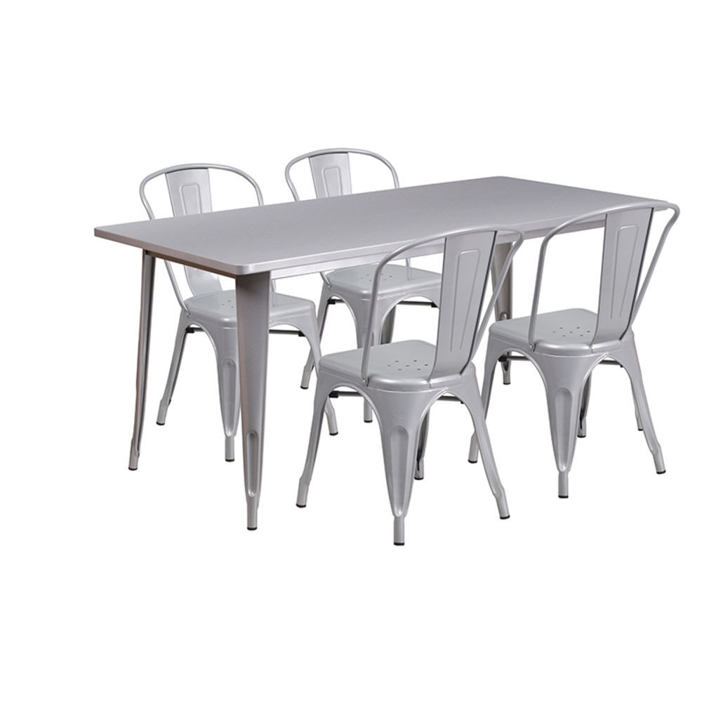 Flash Furniture 31 5 X 63 Rectangular Silver Metal Indoor Outdoor Table Set With 4 Stack Chairs Et Ct005 4 30 Sil Gg