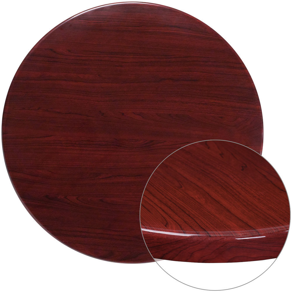 Round Table Tops Flash Furniture 36 Round High Gloss Mahogany Resin Table Top With 2 Thick Drop Lip
