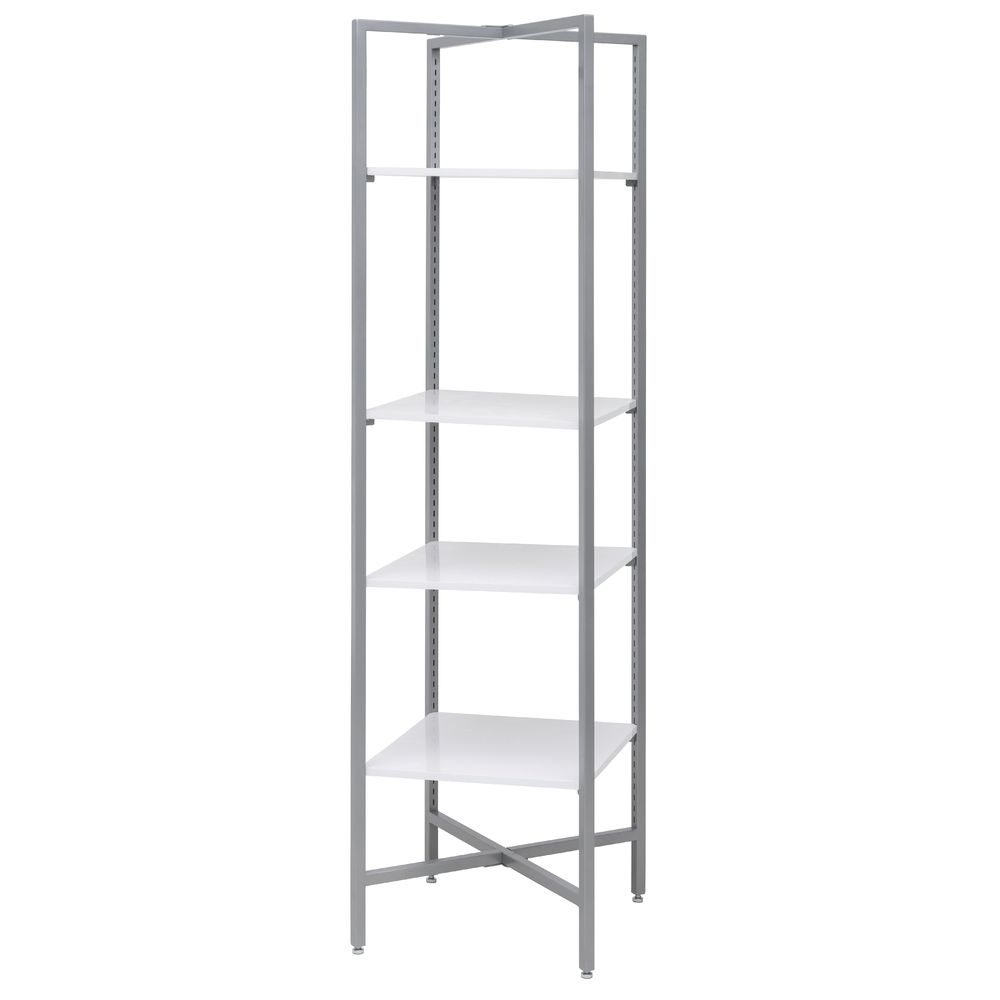 Etagere Metal White And Silver Adjustable Etagere