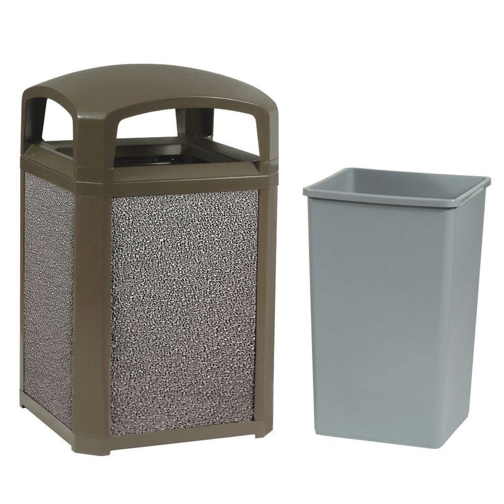 Laundry Trash Cans Rubbermaid Landmark Stone Trash Can With Dome Top 35 Gal 26