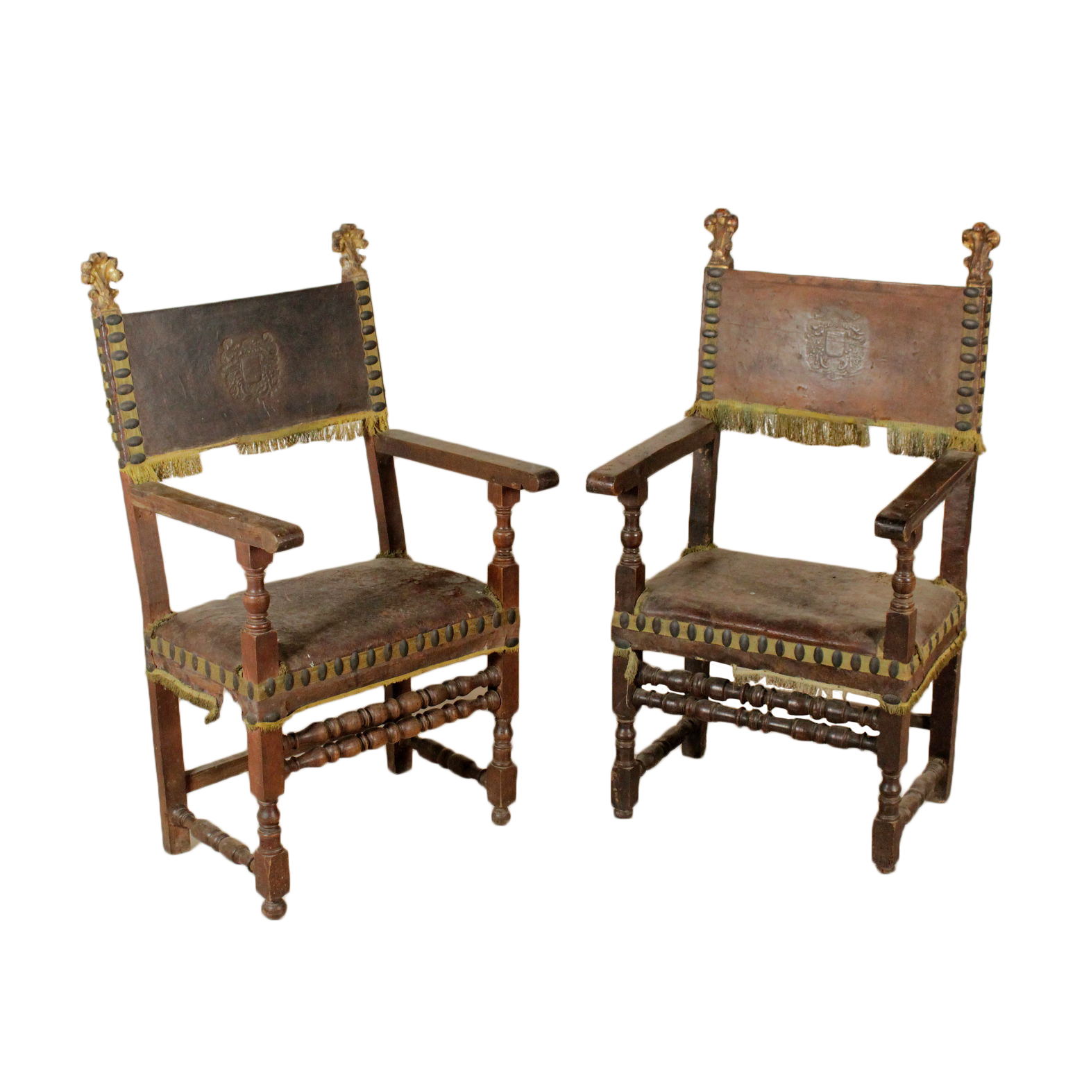 Stylish Furniture Pair Of Highchairs Walnut Leather Studs Italy 17th Century