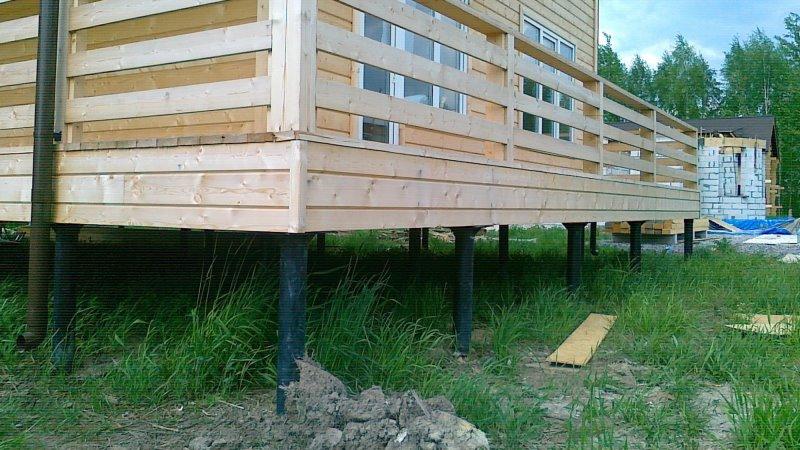 свайно-винтовой фундамент деревянный дом