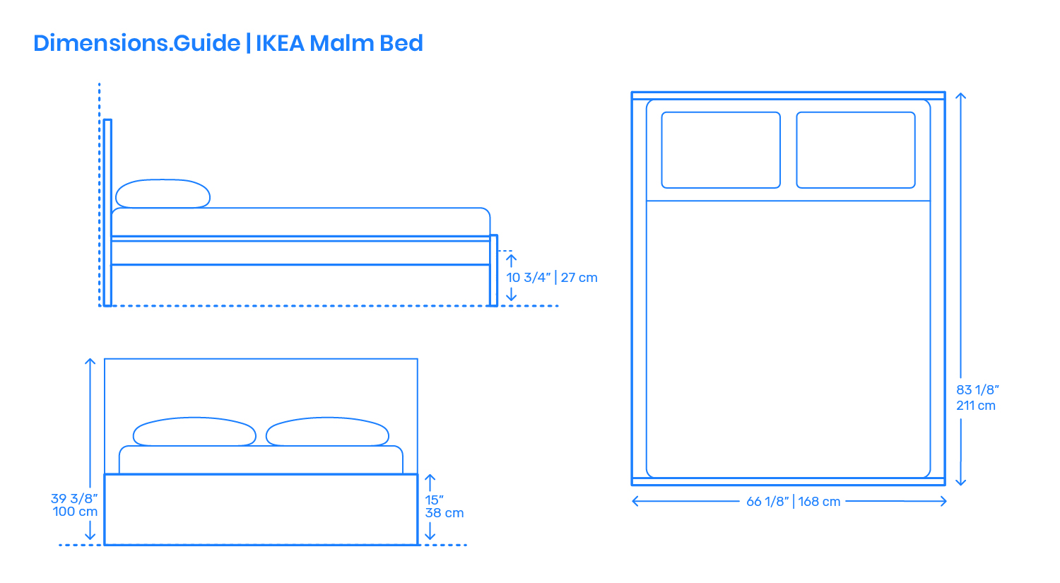 Dimensions Lit Double Ikea Malm Bed Frame Dimensions Drawings Dimensions Guide