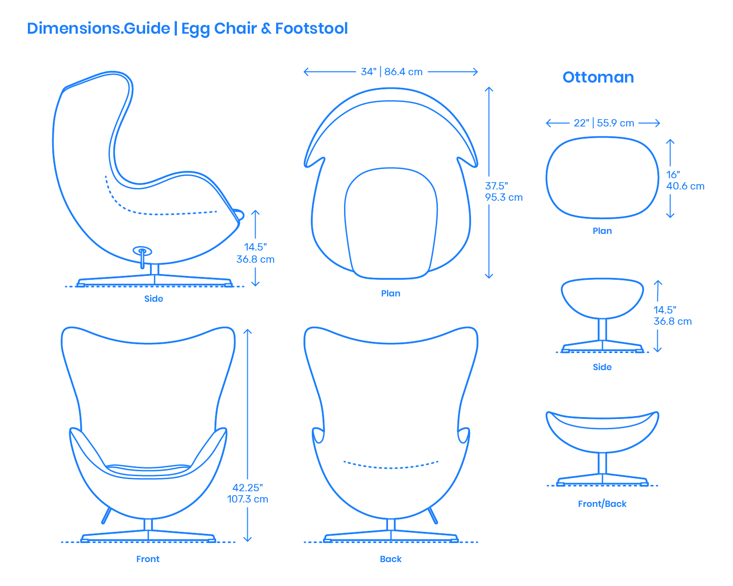 Lounge Chair Measurements Egg Chair And Footstool Dimensions And Drawings Dimensions Guide