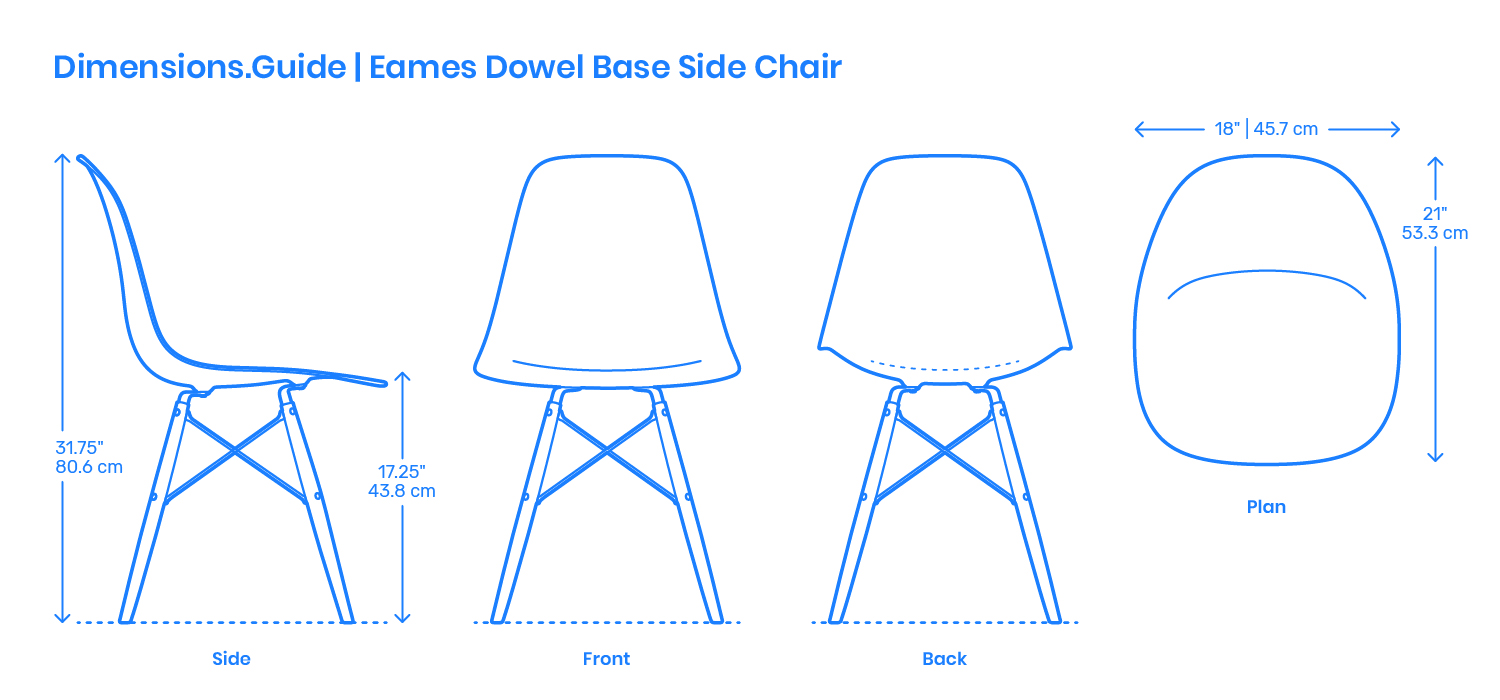 Silla Dwg Eames Dowel Base Side Chair Dimensions Drawings Dimensions Guide