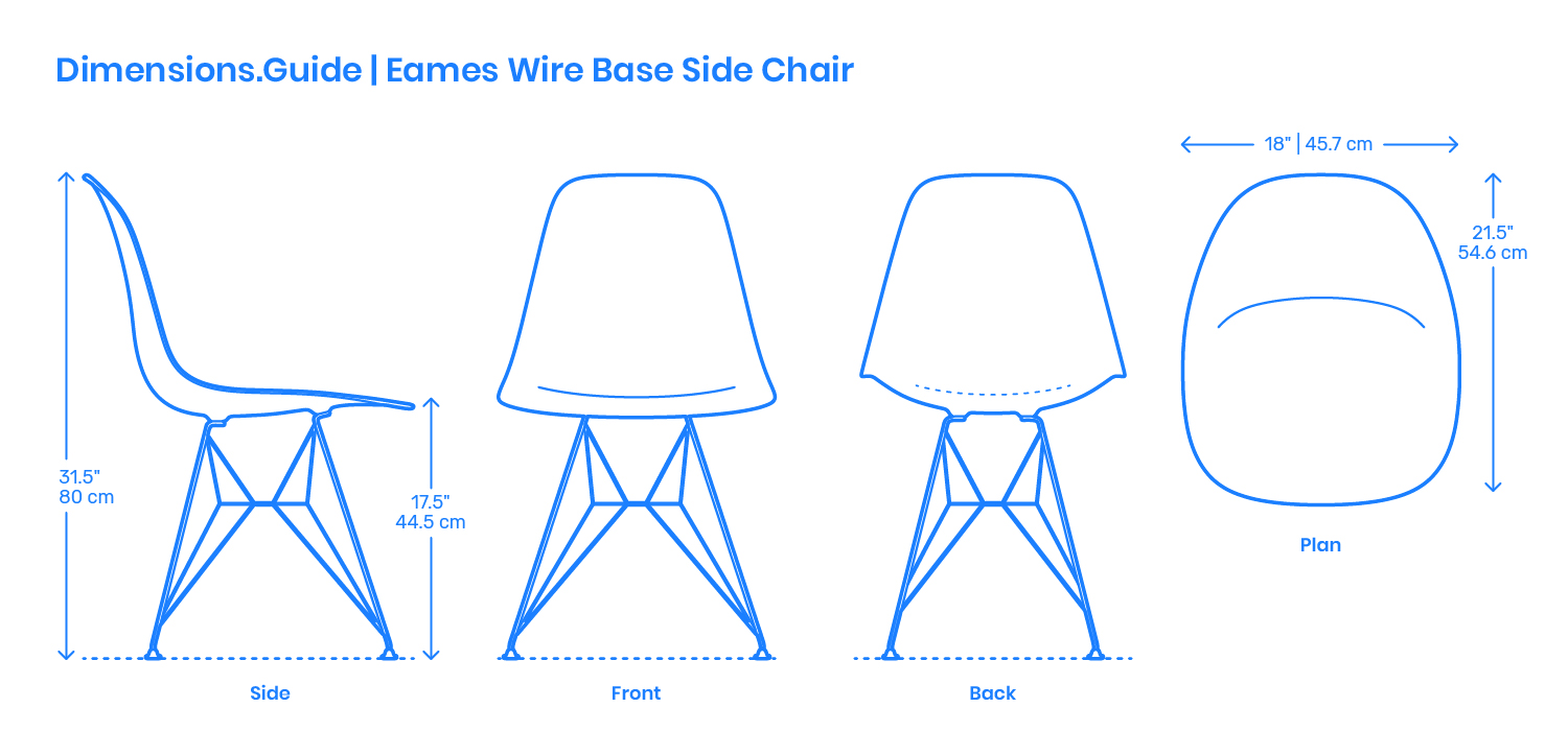 Eames Chair Base Eames Wire Base Side Chair Dimensions Drawings