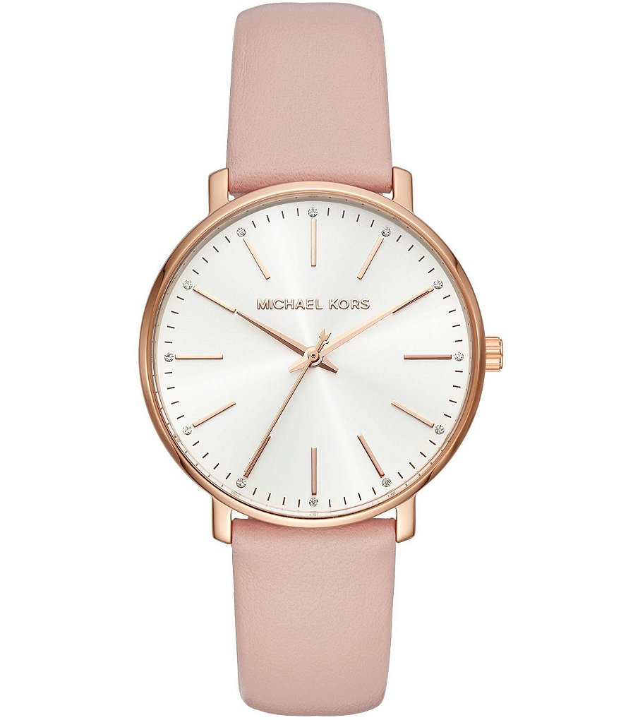 Leather Strap Rose Gold Watch Michael Kors Women S Rose Gold Tone And Blush Leather Pyper Watch
