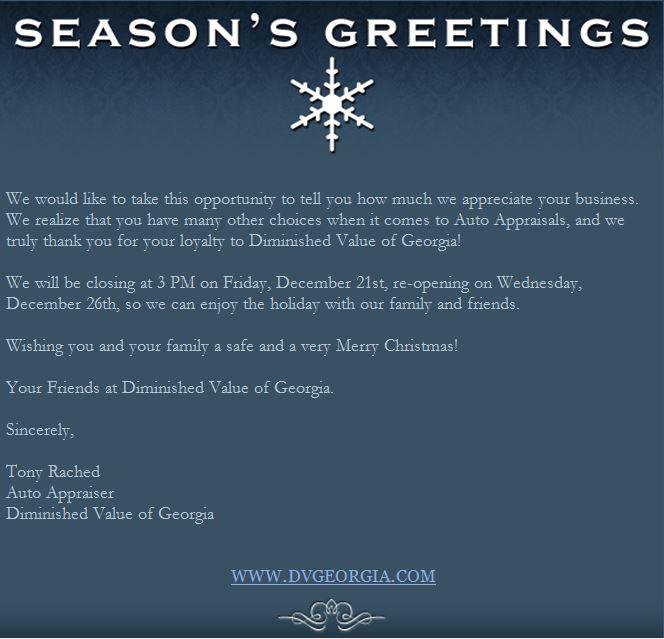 Happy Holidays 2012 Diminished Value Car Appraisal