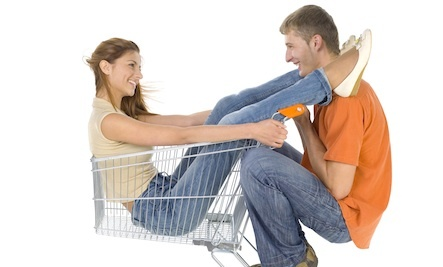 Girl and Boy in Shopping Cart