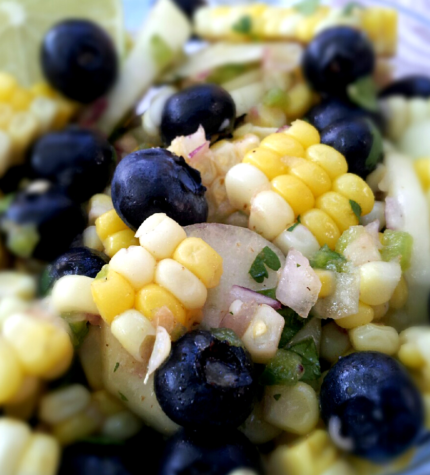 Summer Blueberry & Corn Salad | Dining at my Desk